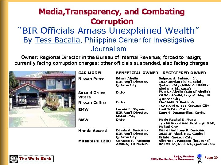 """Media, Transparency, and Combating Corruption """"BIR Officials Amass Unexplained Wealth"""" By Tess Bacalla, Philippine"""