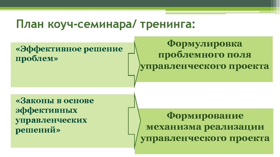 План коуч-семинара/ тренинга: «Эффективное решение проблем» «Законы в основе эффективных управленческих решений» Формулировка проблемного