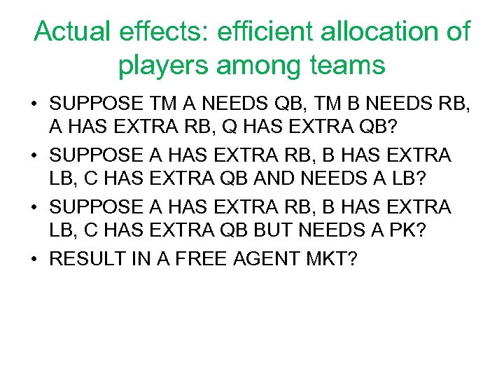 Actual effects: efficient allocation of players among teams • SUPPOSE TM A NEEDS QB,