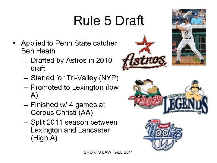 Rule 5 Draft • Applied to Penn State catcher Ben Heath – Drafted by