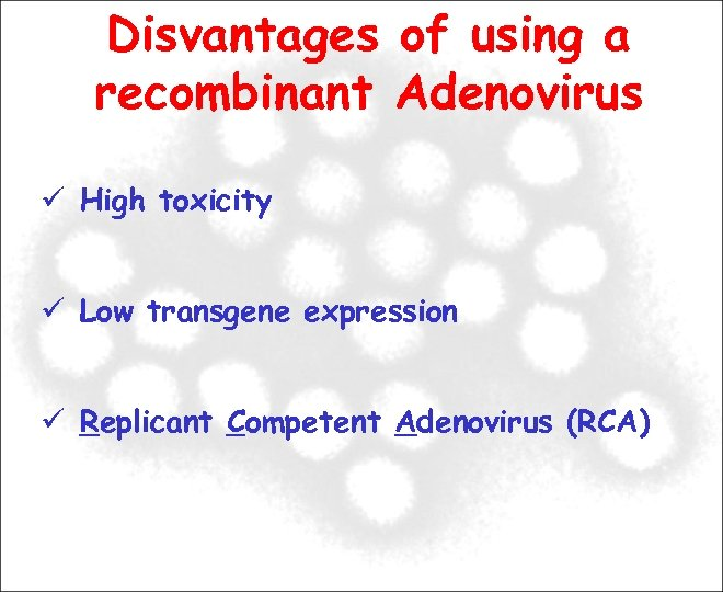 Disvantages of using a recombinant Adenovirus High toxicity Low transgene expression Replicant Competent Adenovirus