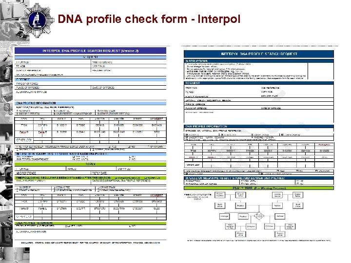 DNA profile check form - Interpol