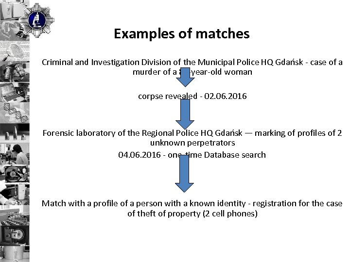 Examples of matches Criminal and Investigation Division of the Municipal Police HQ Gdańsk -