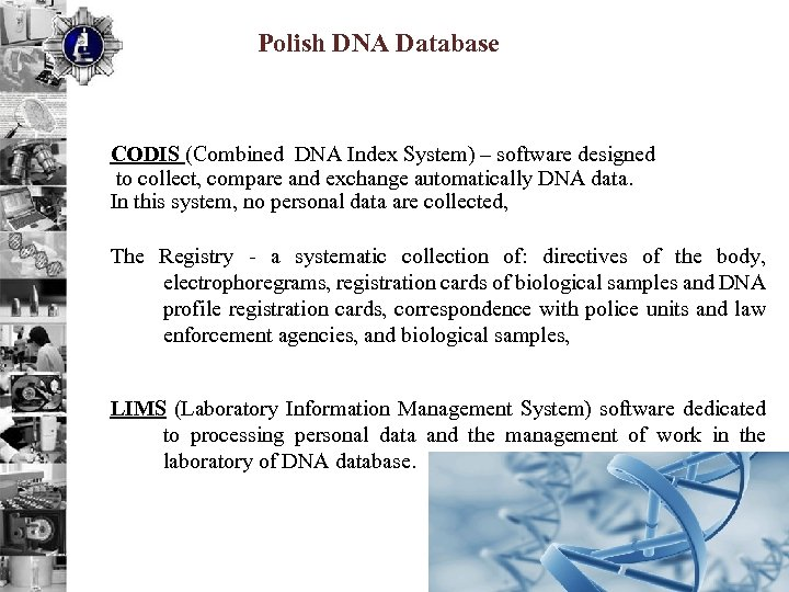 Polish DNA Database CODIS (Combined DNA Index System) – software designed to collect, compare