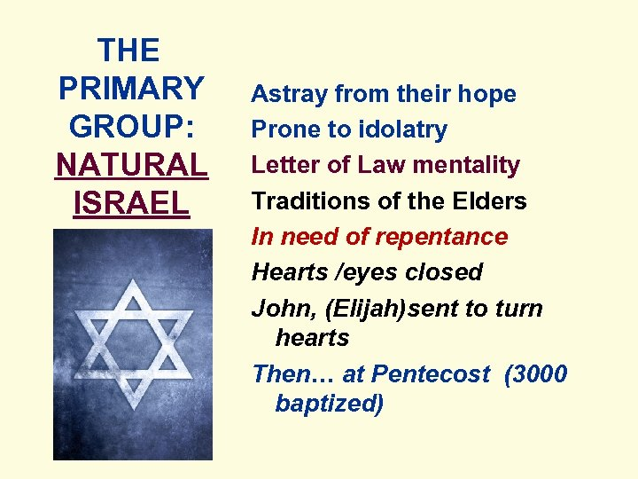 THE PRIMARY GROUP: NATURAL ISRAEL Astray from their hope Prone to idolatry Letter of