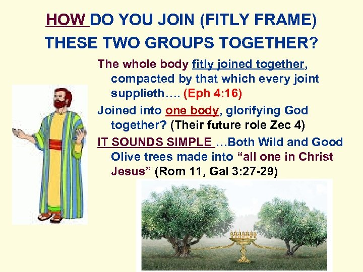 HOW DO YOU JOIN (FITLY FRAME) THESE TWO GROUPS TOGETHER? The whole body fitly