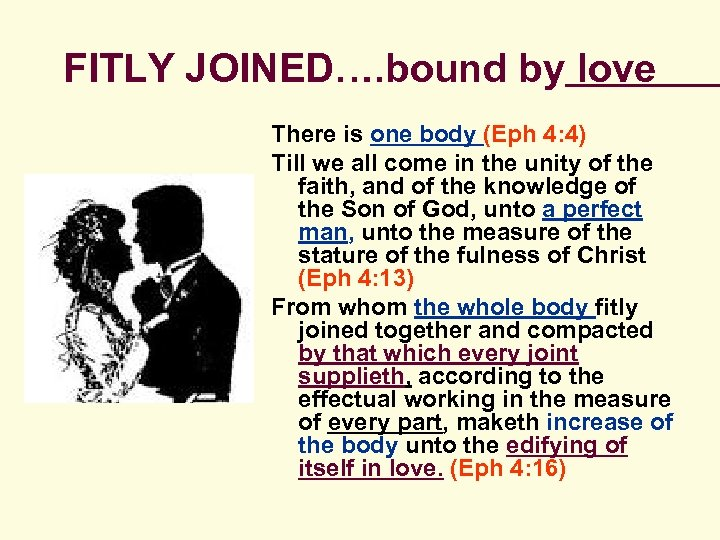 FITLY JOINED…. bound by love There is one body (Eph 4: 4) Till we