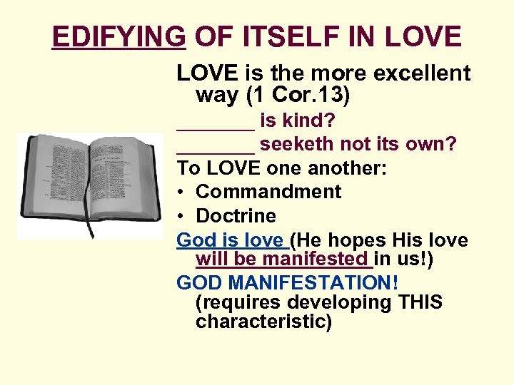 EDIFYING OF ITSELF IN LOVE is the more excellent way (1 Cor. 13) _______