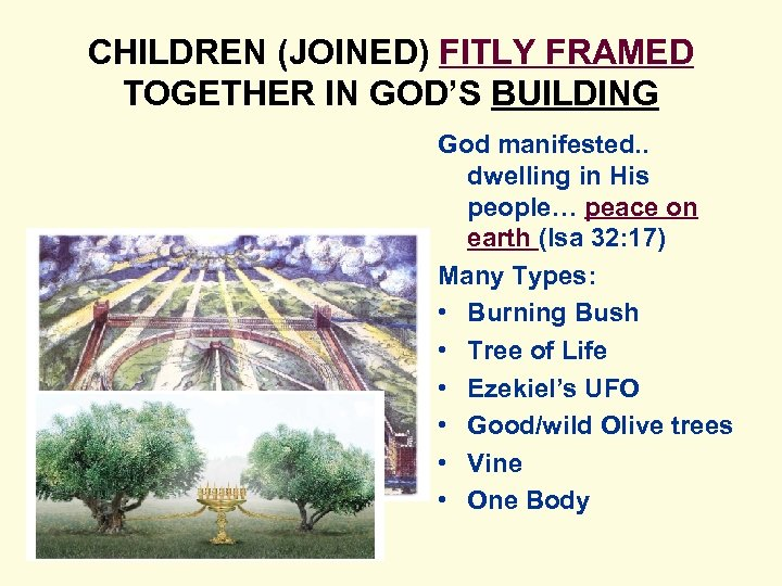 CHILDREN (JOINED) FITLY FRAMED TOGETHER IN GOD'S BUILDING God manifested. . dwelling in His
