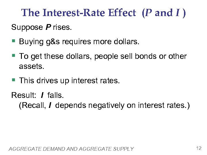 The Interest-Rate Effect (P and I ) Suppose P rises. § Buying g&s requires