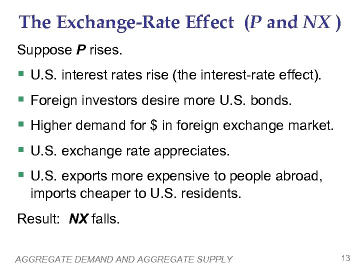 The Exchange-Rate Effect (P and NX ) Suppose P rises. § § § U.