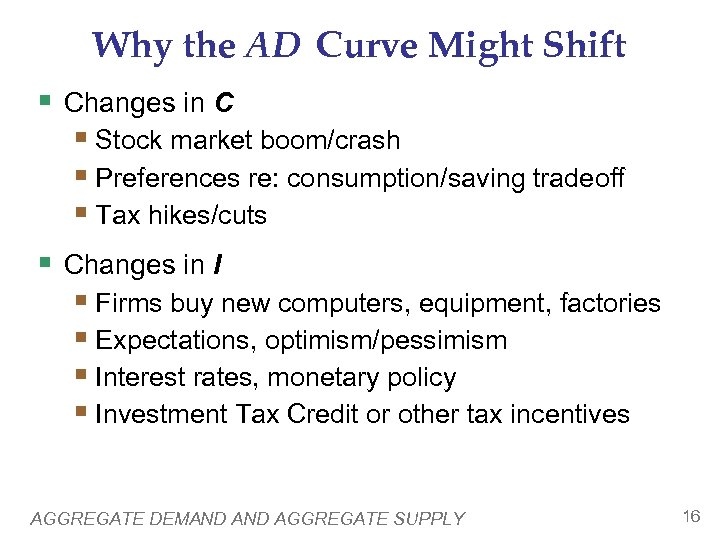 Why the AD Curve Might Shift § Changes in C § Stock market boom/crash
