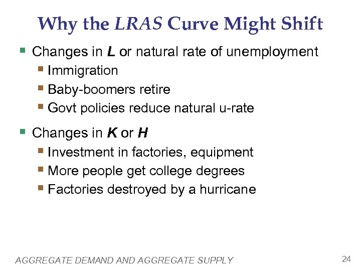 Why the LRAS Curve Might Shift § Changes in L or natural rate of