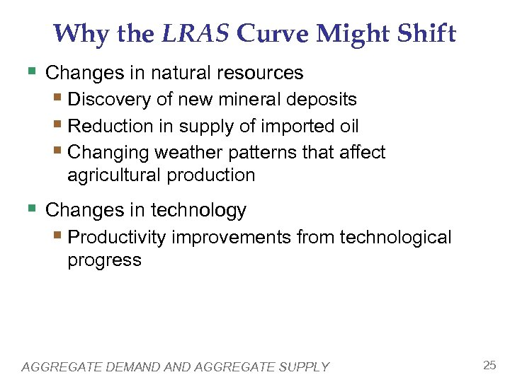 Why the LRAS Curve Might Shift § Changes in natural resources § Discovery of