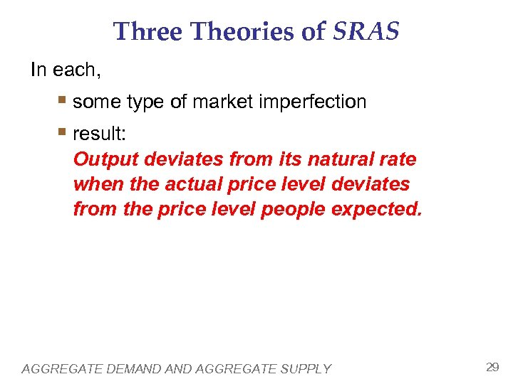 Three Theories of SRAS In each, § some type of market imperfection § result: