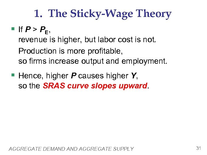 1. The Sticky-Wage Theory § If P > PE, revenue is higher, but labor