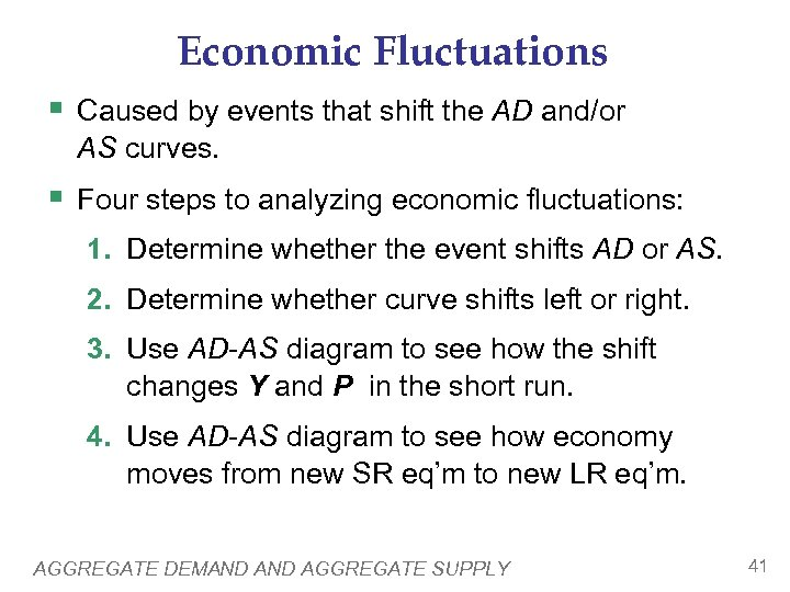 Economic Fluctuations § Caused by events that shift the AD and/or AS curves. §