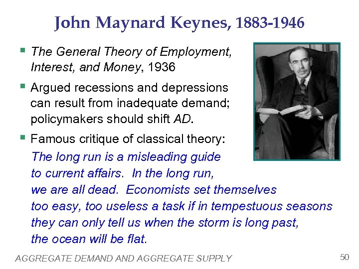 John Maynard Keynes, 1883 -1946 § The General Theory of Employment, Interest, and Money,