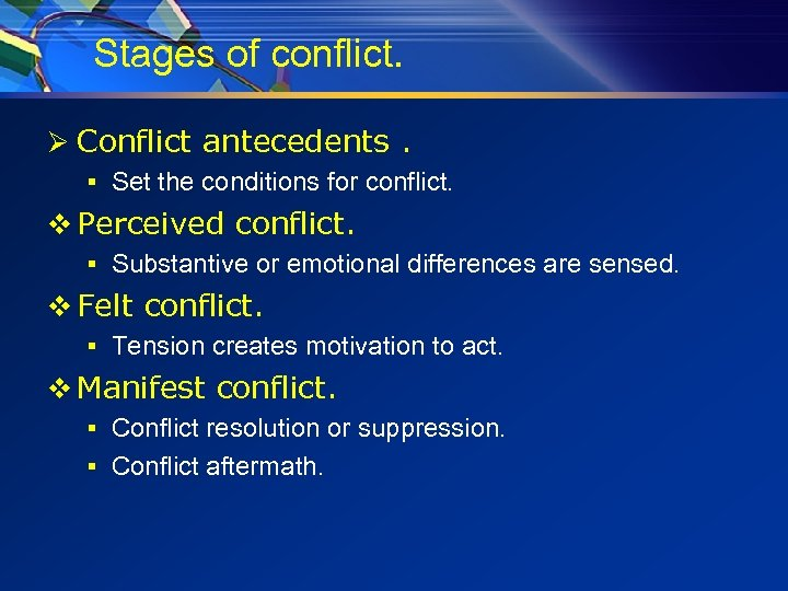 Stages of conflict. Ø Conflict antecedents. § Set the conditions for conflict. v Perceived