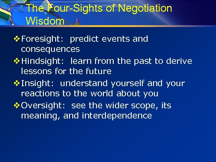 The Four-Sights of Negotiation Wisdom v Foresight: predict events and consequences v Hindsight: learn