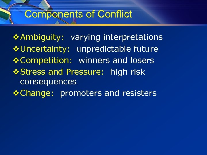 Components of Conflict v Ambiguity: varying interpretations v Uncertainty: unpredictable future v Competition: winners