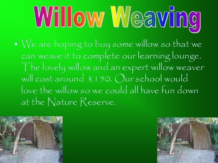 • We are hoping to buy some willow so that we can weave