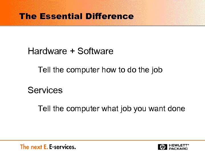 The Essential Difference Hardware + Software Tell the computer how to do the job