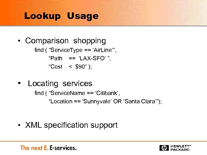 """Lookup Usage • Comparison shopping find ( """"Service. Type == 'Air. Line'"""", """"Path =="""