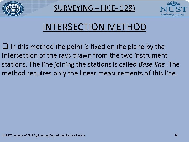 SURVEYING – I (CE- 128) INTERSECTION METHOD q In this method the point is