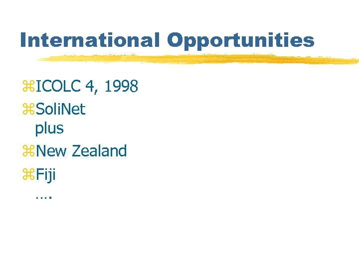 International Opportunities z. ICOLC 4, 1998 z. Soli. Net plus z. New Zealand z.