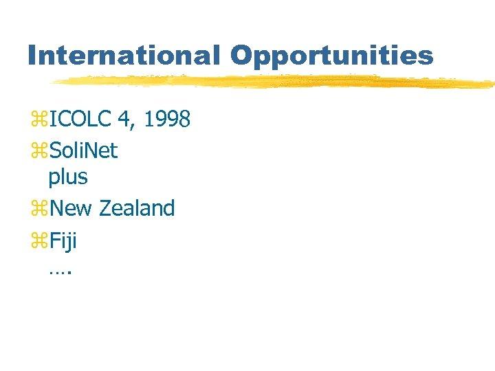 International Opportunities z. ICOLC 4, 1998 z. Soli. Net plus z. New Zealand z.