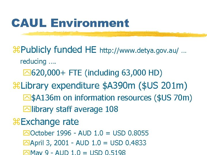 CAUL Environment z. Publicly funded HE http: //www. detya. gov. au/ … reducing ….