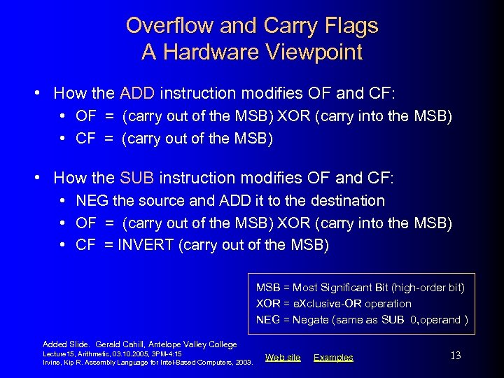 Overflow and Carry Flags A Hardware Viewpoint • How the ADD instruction modifies OF