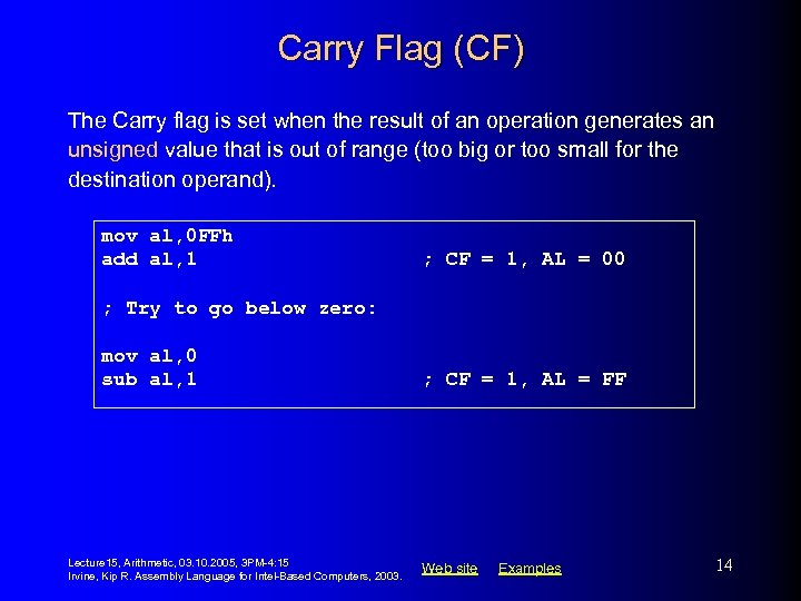 Carry Flag (CF) The Carry flag is set when the result of an operation