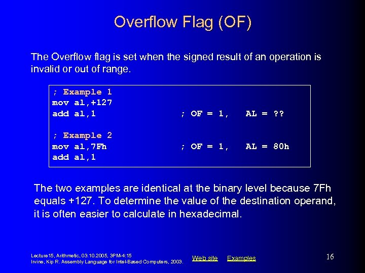 Overflow Flag (OF) The Overflow flag is set when the signed result of an