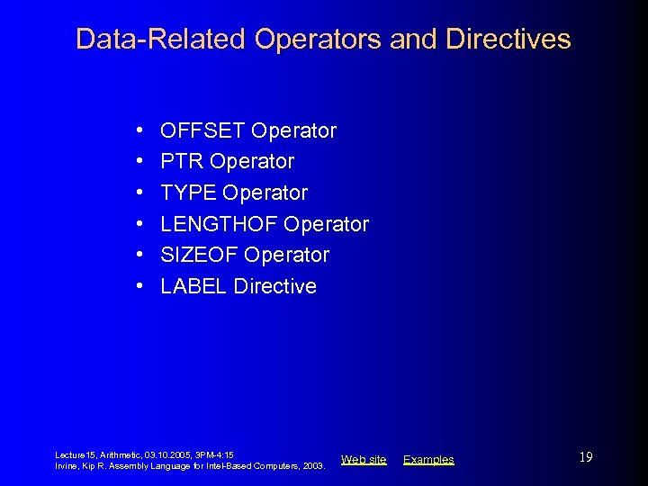 Data-Related Operators and Directives • • • OFFSET Operator PTR Operator TYPE Operator LENGTHOF