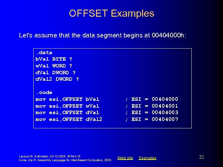 OFFSET Examples Let's assume that the data segment begins at 00404000 h: . data