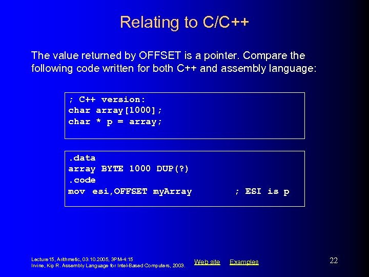 Relating to C/C++ The value returned by OFFSET is a pointer. Compare the following