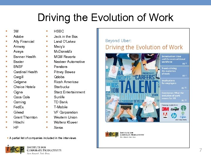 Driving the Evolution of Work § § § § § 3 M Adobe Ally