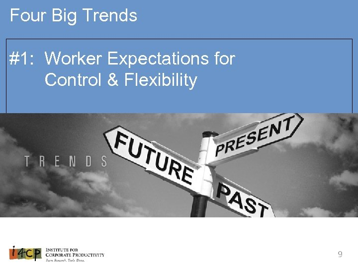 Four Big Trends #1: Worker Expectations for Control & Flexibility 9