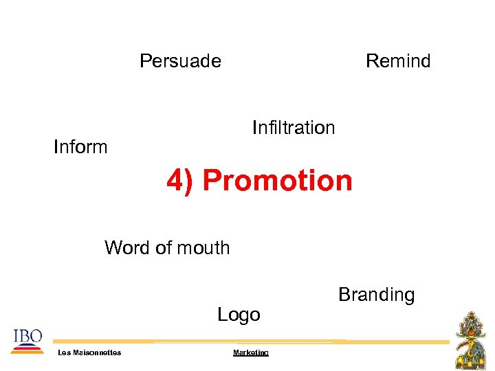 Persuade Remind Infiltration Inform 4) Promotion Word of mouth Logo Les Maisonnettes Marketing Branding