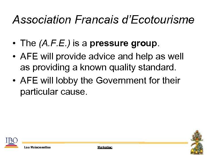 Association Francais d'Ecotourisme • The (A. F. E. ) is a pressure group. •