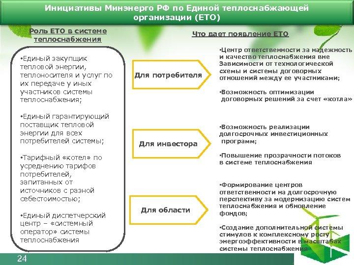 Инициативы Минэнерго РФ по Единой теплоснабжающей организации (ЕТО) Роль ЕТО в системе теплоснабжения