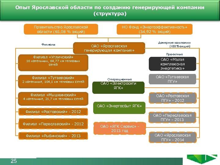 Опыт Ярославской области по созданию генерирующей компании Структура компании (структура) Правительство Ярославской области
