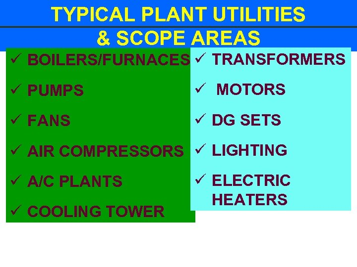 TYPICAL PLANT UTILITIES & SCOPE AREAS ü BOILERS/FURNACES ü TRANSFORMERS ü PUMPS ü MOTORS