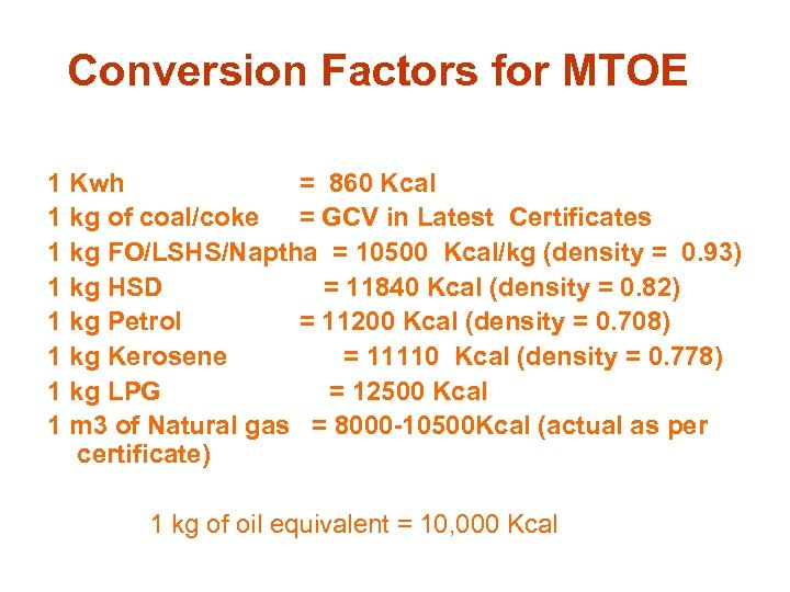 Conversion Factors for MTOE 1 Kwh = 860 Kcal 1 kg of coal/coke =