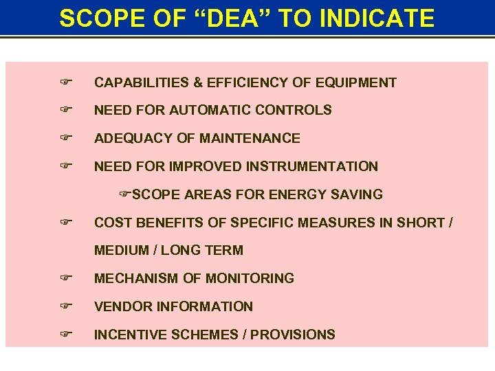 "SCOPE OF ""DEA"" TO INDICATE F CAPABILITIES & EFFICIENCY OF EQUIPMENT F NEED FOR"