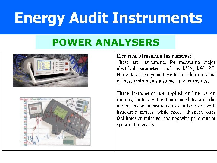 Energy Audit Instruments POWER ANALYSERS