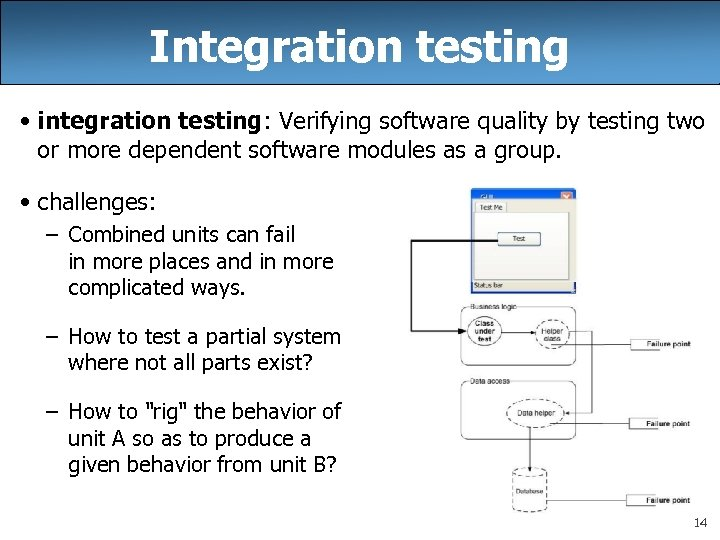 Integration testing • integration testing: Verifying software quality by testing two or more dependent