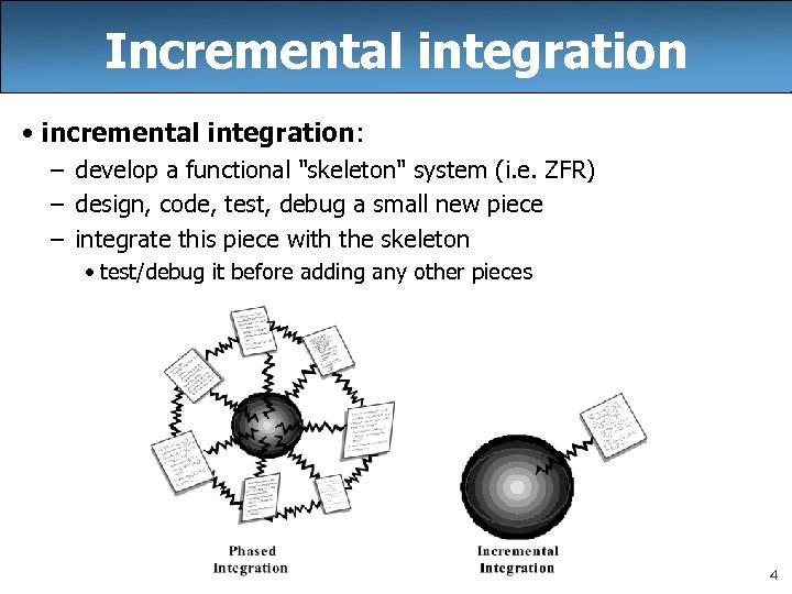 Incremental integration • incremental integration: – develop a functional